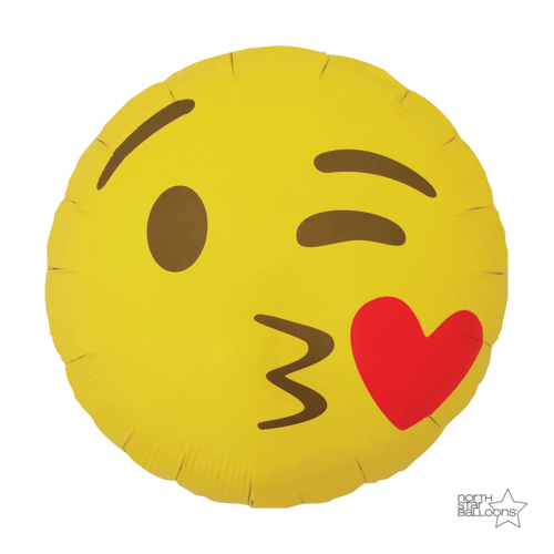 Folienballon Emoji Kussmund/Kissing Heart - Ballon Shop