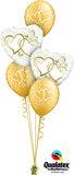 Ballonbouquet Just Married Hearts Gold_