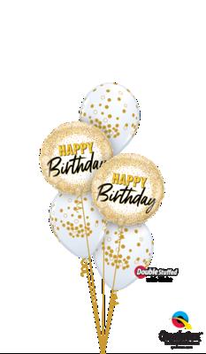 Ballonbouquet Happy Birthday gold Dots