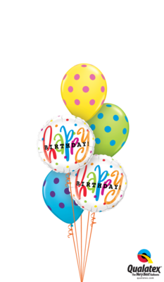 Ballonbouquet Happy Birthday Dots