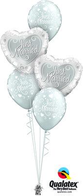 Ballonbouquet Just Married Hearts Silver