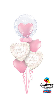 Ballonbouquet Just Married Hearts Roses