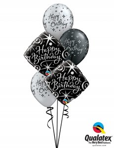Ballonbouquet Happy Birthday Black Elegant
