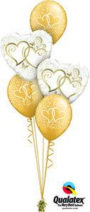 Ballonbouquet Just Married Hearts Gold