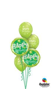 Ballonbouquet Happy Birthday Green Sparkle