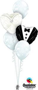 Ballonbouquet Wedding Tuxedo & Gown Classic